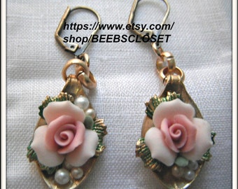 Pink Ceramic Flower Earring , Pink Rose  earrings, Victorian style , Bridal earrings, Hand made