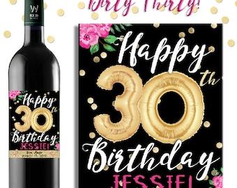 30th Birthday Gift - 30th Birthday Wine Label - Dirty Thirty Gift - Custom 30th Birthday Gift- Personalized Dirty 30 Birthday Party Gift
