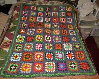 "New Granny Square Afghan Chair Blanket Throw Acrylic 57.5 x 42"" (Inv. # 9)"
