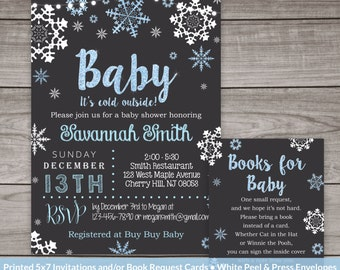 Winter Baby Shower Invitations For A Boy   Baby Shower Invitations   Boy  Snowflake Invitation