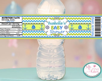 Personalized Nautical Boy Baby shower Water bottle label   / Baby shower Favor