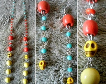 Pastel Acrylic Skull Necklace and Earrings Set