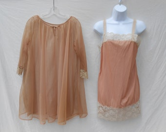 Vintage 1960s Brownish Pink Full Slip And Baby Doll Dressing Gown Set // Size XS // 60s Peignoir Lingerie Lounge Wear Ensemble