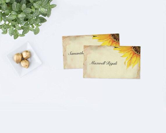 Editable Sunflower Place Card Template Sunflower Wedding Escort - Escort card template