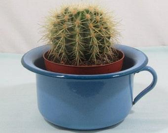 French vintage chamber pot, Don't sit down!, enamel chamberpot, potty, enamel bowl, cornflower blue with teal trim, vintage enamelware,