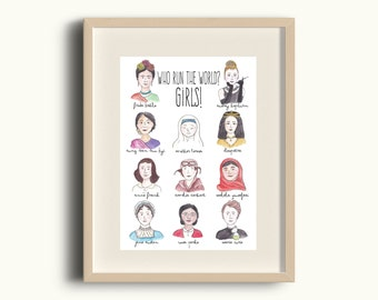 Inspirational Women Print - Watercolour feminist scienctist art - Frida Kahlo, Audrey Hepburn, Cleopatra - A5 printed on recycled card