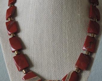 Red Jasper Necklace,  Red Necklace,  Jasper Necklace,