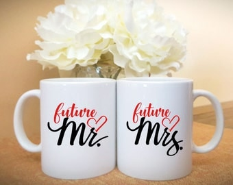 Future Mr. and Mrs. Coffee Mugs, Bridal Shower Gift, Wedding Couples Mugs
