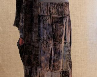 Suit velvet wearable art, Vintage 70s Ethnic velvet Suit Boho gypsy Patchwork embroidered oversized collar,boho midi skirt,hippie cardigan