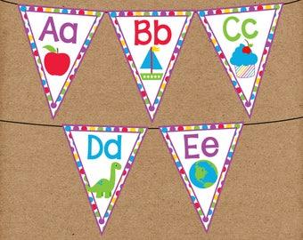 Printable Alphabet Banner. Full Alphabet Banner, Great for Classroom, Preschool, Kindergarten. Alphabet Banner with Pictures.