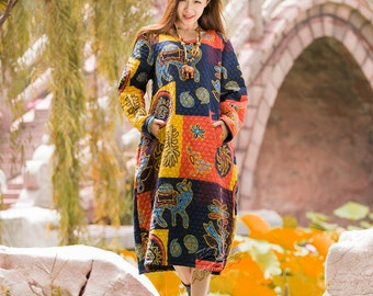 Anysize lovely camels and cactus linen&cotton with thick cotton layer spring autumn winter warm dress plus size dress plus size clothing F4A
