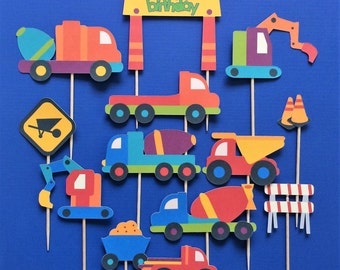 Construction theme cupcake toppers, construction toppers, truck toppers, construction party theme, construction birthday, construction truck