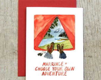 Marriage = Choose Your Own Adventure Greeting Card, Wedding Congratulations Card, Watercolor Camping Card by Little Truths Studio
