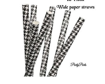 Houndstooth design Party Straws, Black and White Party, Graduation Decorations, University of Alabama, Team Spirit, School Pride, College