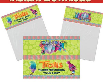 """Troll party bag toppers, Foldable treat favor toppers - Instant Download - two per page - 6'7"""" x 5"""" - 6.7"""" x 2.5"""" when folded"""