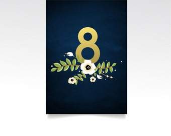 The ALYSSA . Table Numbers . Gold & Navy Wedding Chalkboard Anemone Magnolia Garland Rustic . Double Sided Heavy Paper Printed 5 x 7 Card
