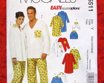 McCall's Easy Sewing Pattern M5511, Pajamas for Women Men Teen Boys Dogs, PJ Top Nightshirt Lounge Pants, Sizes Xs S M, Casual Leisure UNCUT