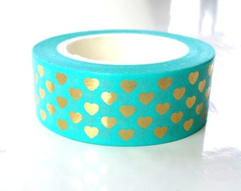 Bright shiny gold foil hearts washi tape - turquoise