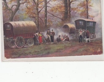 Gypsy Caravans Tuck Oilette Antique Postcard Gypsy Country Life 1906-The Way It Was