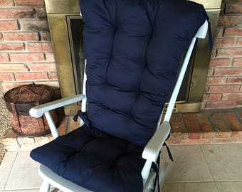 Ready To Ship Solid Navy Custom Rocking Chair Cushions, Glider Replacement Pads, Rocker Pads
