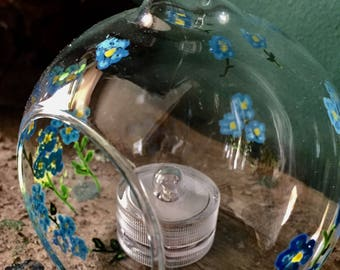 Forget me not bauble, glass terrarium, hanging tea light holder , hand painted bauble