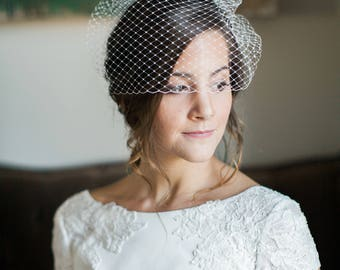 Birdcage Veil, Short Veil, Wedding Veil, Blusher Veil, Voilette, Wedding Headpiece, Bridal Headpiece, Bridal Veil- Style 204- Anabelle