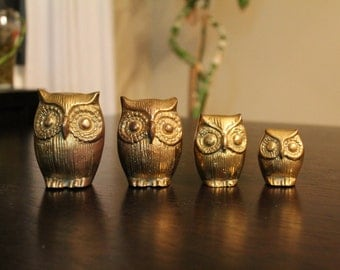 Vintage Brass Owl Family set of 4