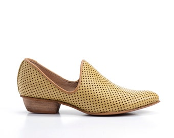 Yellow Flat Leather Shoes / Pastel Women Shoes / Every Day Shoes / Perforated Leather Shoes / Comfortable Shoes / Wooden Heel Shoe - Charlie