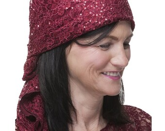 Berry Sparkle Lace Head Scarf
