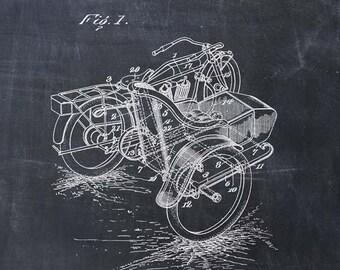 Motorcycle Sidecar Patent Print - Patent Art Print - Patent Poster - Harley