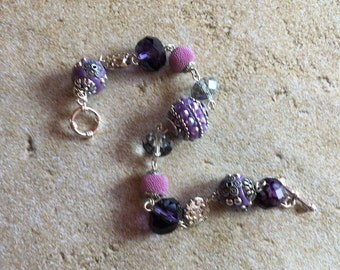 Purple Bracelet, Glass Bracelet, , Gift For Her, Beaded Jewelry, Beaded Bracelet