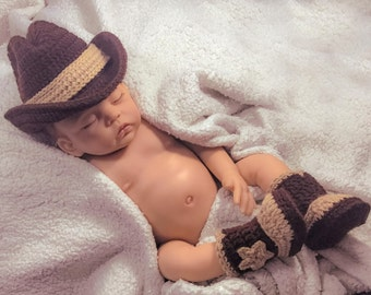 Cowboy hat newborn photo prop cowboy baby photo outfit baby cowboy boots newborn photo outfit cowboy photo prop baby cowboy hat crochet