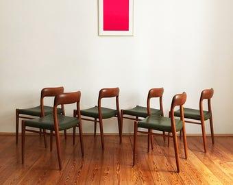 6 set chairs Niels Møller Möller 75 teak design mid century modern Chair leather