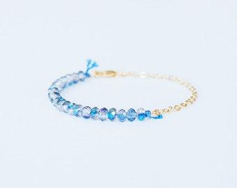 Dainty gold plated bracelet, Stacking Bracelet, Blue glass beads, minimalist Bracelet, gift idea, Simple bracelet, everyday jewelry