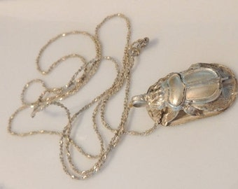 Egyptian Sterling Silver Scarab Beetle Necklace with Hieroglyphs