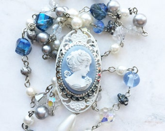 Vintage handmade cameo repurposed blue, pearl, and crystal pendant necklace