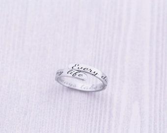 Skinny Secret Message Ring - Long Distance Relationship - Adjustable Wrap Ring - Hand Stamped Jewelry - Engraved Jewelry - Engraved Ring