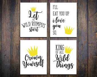 Where the Wild Things Are PARTY PRINTABLES, First Birthday, Wild One, Collection of 4