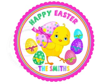 "Custom Happy Easter Printable 2.5"" Tags-Easter Chick & Eggs D.I.Y Tags- Personalized Stickers (You Print) 2.5"" tags-Digital file"