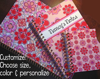Custom note book personalized spiral journal custom teacher gift teen - GIGI SPIRAL