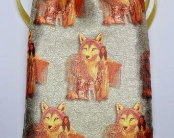 Satin Native American Tarot Card Bag, Ideal for most Angel, Fairy Or Wicca Cards