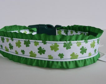St. Patrick's Day Green Glitter Shamrock Ruffle Dog Collar or Leash