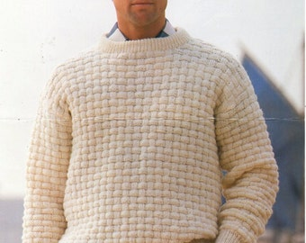 mens sweater knitting pattern pdf DK mens patterned round neck jumper Vintage 34-46 inch DK light worsted 8ply instant download