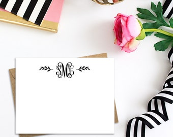 Flat Monogram Cards with White or Kraft Envelopes, A2 Single Cards in Bulk or Boxed Sets of 10