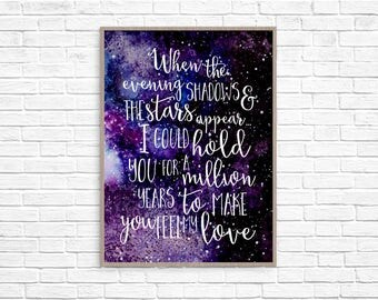 I Could Hold You For a Million Years To Make You Feel My Love Print Printable Wall Art Home Decor Stars Galaxy Nursery Art Watercolor