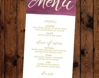 Watercolor Swash Stripe Wedding or Rehearsal Dinner Menu Printable Custom Colors Available
