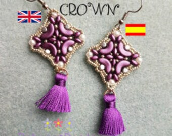 Earrings Schema, Long Drop Earrings, Square Tutorial Beadwork Earrings Pattern Beadweaving Earrings, Jewelry, Spanish English, Beads Crown