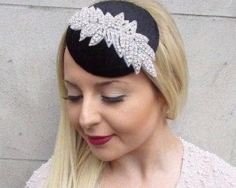Black Silver Velvet Pillbox Hat Fascinator Hair Vintage Races 1940s Clip 2648