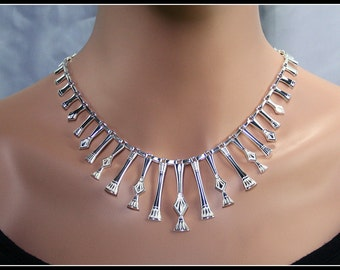 Egyptian large necklace, cleopatra style necklace, silver egyptian large necklace, handmade necklace, sterling silver