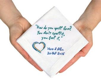 Groom gift from bride - Custom handwriting gift - Wedding handkerchief - Personalized handkerchief - Wedding gift - Wedding keepsake ideas